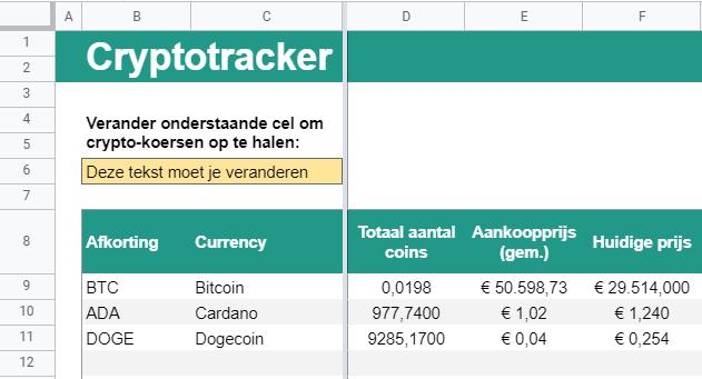 Cryptotracker - Overzicht