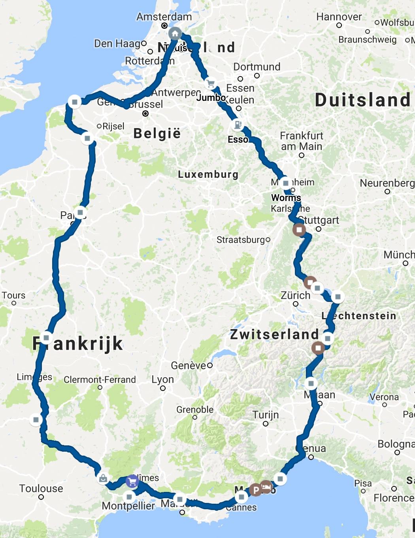 Route van de roadtrip in de winter van 2018