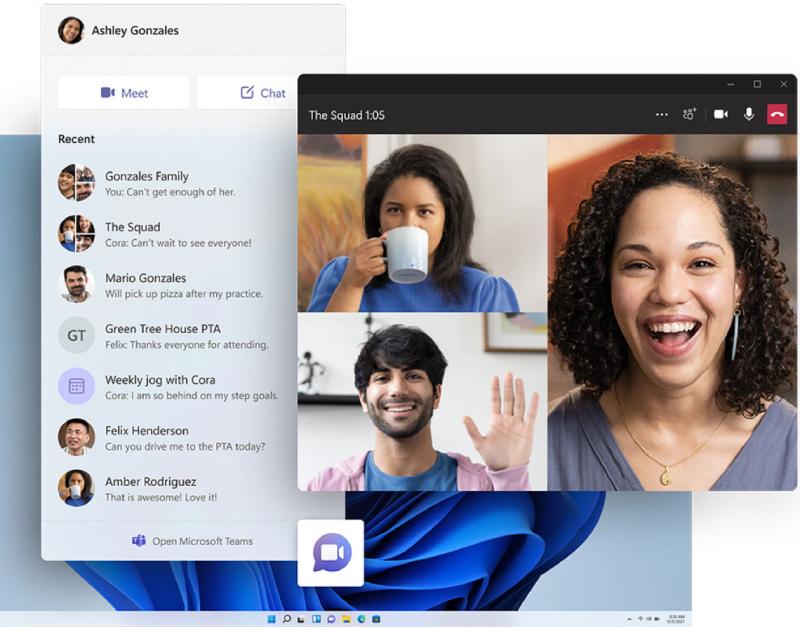 Microsoft Teams ingebouwd in Windows 11