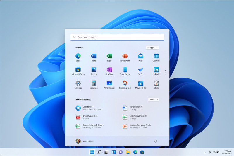 Windows 11 startmenu
